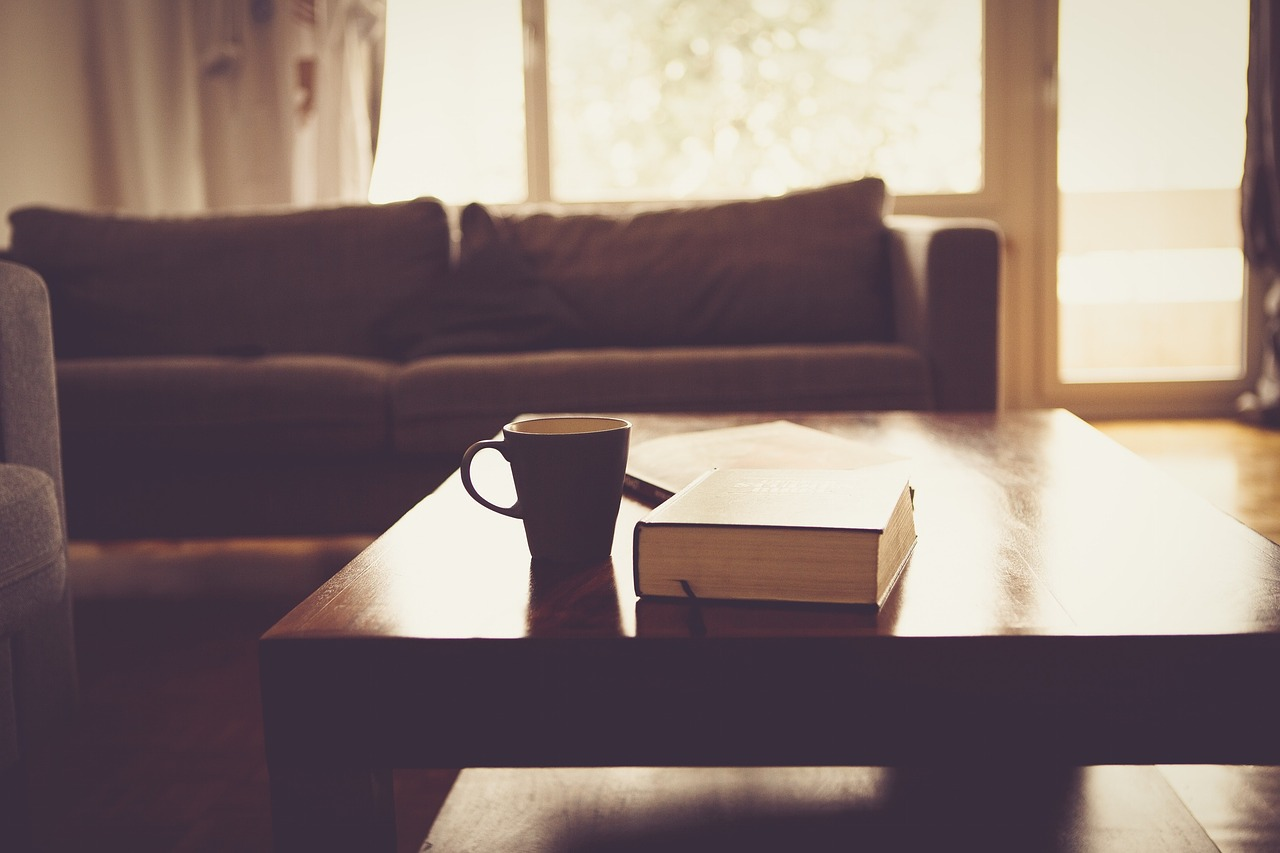 sofa with coffeetable book and mug
